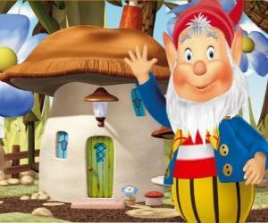 Puzle O sábio Orellas, um duende barbudo que vive numa casa cogumelo