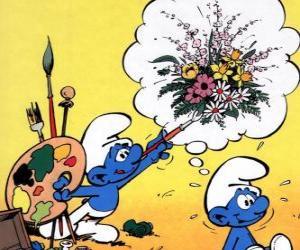 Puzle O Smurf pintor pintou os pensamentos de outro Smurf