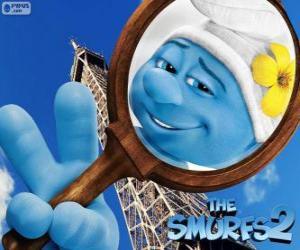 Puzle O Smurf Vaidoso, um dos smurfs em aventuras em Paris