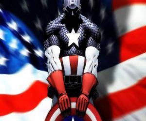 Puzle O super-herói Capitão América é um patriota e um perito em combate