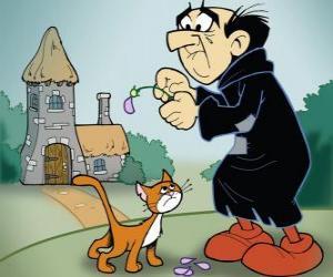 Puzle O terrível feiticeiro Gargamel e seu gato Azrael, os inimigos dos Smurfs