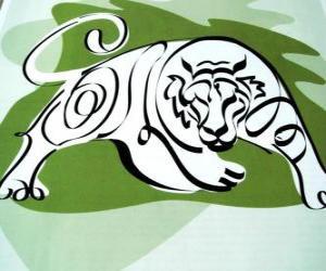 Puzle O tigre, o sinal de tigre, o Ano do Tigre. O terceiro sinal dos doze animais do zodíaco chinês