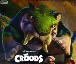 Puzle O tigre verde, um tigre dente de sabre de Croods