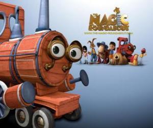 Puzle O Train, um dos brinquedos mágicos no filme Franjinhas e o Carrossel Mágico