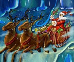 Puzle O trenó cheio de presentes que voam com o Papai Noel e as renas mágicas
