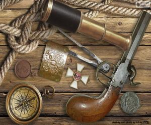 Puzle Objetos de um velho explorador