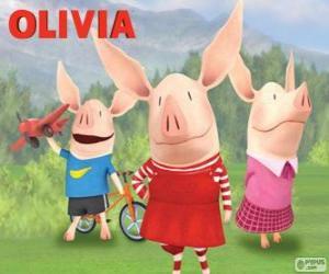 Puzle Olivia com seus irmãos William e Ian
