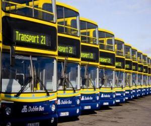 Puzle Ônibus de Dublin no estacionamento
