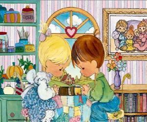 Puzle Oração de menino e menina. Precious Moments