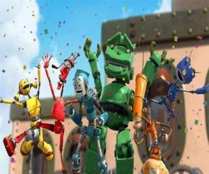 Puzle Os amigos de Rodney em Cidade  Robô - Os Enferrujados liderados por Manivela
