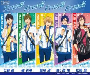 Puzle Os cinco personagens principais de Free, Iwatobi Swimmming Club