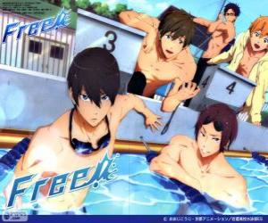 Puzle Os cinco protagonistas de Free! Rin, Haruka, Nagisa, Rei e Makoto