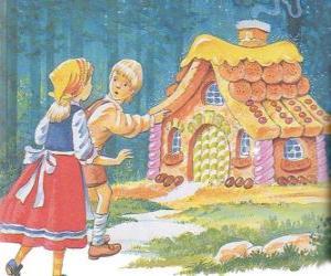 Puzle Os dois irmãos Hansel e Gretel ou João e Maria descobrem uma casa feita de doces deliciosos