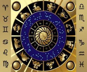 Puzle Os doze signos do zodíaco, a Roda do Zodíaco ou Círculo do Zodíaco