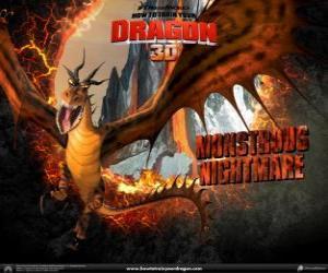 Puzle Os dragões gigantes Pesadelo Monstruoso podem atacar qualquer hora do dia ou da noite, a partir do ar ou o solo