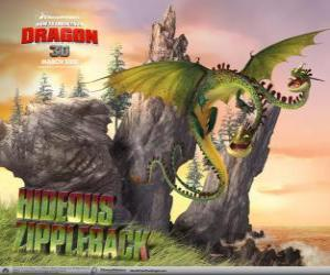 Puzle Os dragões Ziperarr Epiante ou Horrendous Fecheclerus causam explosões, enquanto uma cabeça emite gás, a outra o acende