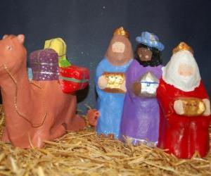 Puzle Os Magos Melquior, Baltasar e Gaspar com os seus dons