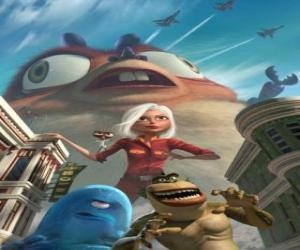 Puzle Os monstros são os heróis - Ginormica, Dr. Barata, Bob, o Elo Perdido e Insectosaurus