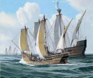 Puzle Os navios da primeira viagem de Colombo foi o navio Santa Maria e as caravelas, a Pinta ea Nina