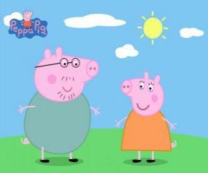 Os pais de Peppa Pig caminhando sob o sol