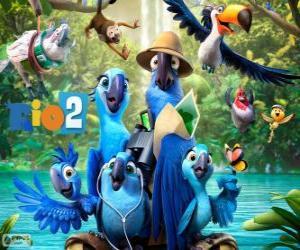 Puzle Os personagens principais do filme Rio 2