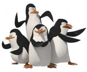 Puzle Os pinguins Skipper, Kowalski, Rico e Private.
