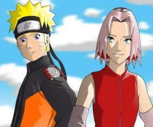 Puzle Os principais personagens de Naruto Uzumaki e Sakura Haruno sorrindo