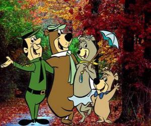 Puzle Os protagonistas das aventuras: Zé Colméia, Catatau, Cindy e o guarda-parques Smith