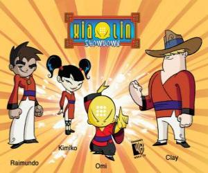Puzle Os quatro guerreiros Xiaolin: Raimundo, Kimiko, Omi e Clay