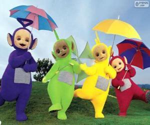Puzle Os quatro Teletubbies com seus guarda-chuvas abertos