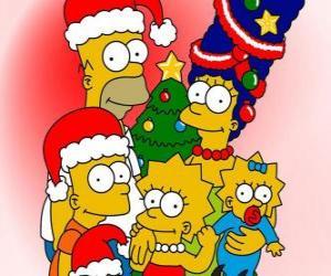 Puzle Os Simpsons desejando-lhe um Feliz Natal