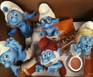 Puzle Os Smurfs assustado dentro de uma caixa - Os Smurfs, filme -
