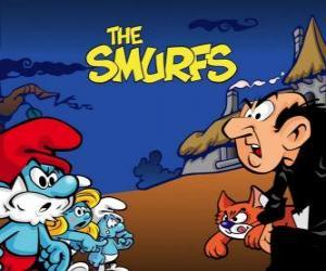 Puzle Os Smurfs contra terrível feiticeiro Gargamel e seu gato Azrael