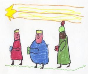 Puzle Os Três Reis Magos em caminho guiado pela Estrela de Belém