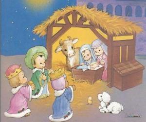 Puzle Os Três Reis Magos entregando os seus donativos, ouro, incenso e mirra, ao Menino Jesus