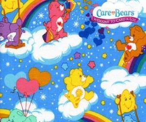 Puzle Os Ursinhos Carinhosos brincando com as nuvens e os arco-íris