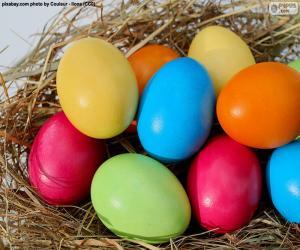 Puzle Ovos de Páscoa pintados