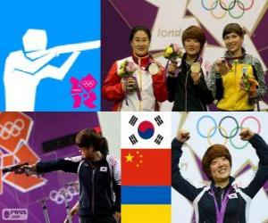 Puzle Pódio de pistola de 25 m de mulheres, Kim Jang - meu (Coréia do Sul), Chen Ying (China) e Eric Kostevych (Ucrânia) - Londres 2012-