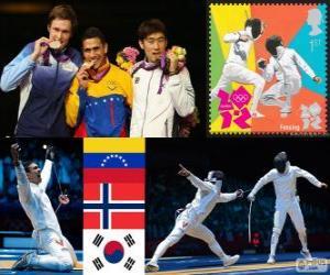Puzle Pódio Esgrima espada individual de homens, Ruben Limardo Gascón (Venezuela), Bartosz Piasecki (Noruega) e Jung Jin-Sun (Coréia do Sul) - Londres 2012 -