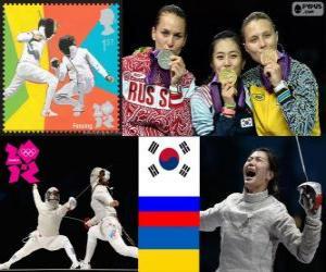 Puzle Pódio Esgrima sabre individual feminino, Kim Ji-Yeon (Coreia do Sul), Sofia Velikaya (Rússia) e Olga Jarlan (Ucrânia) - Londres 2012-