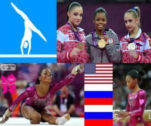 Puzle Pódio ginástica artística individual geral feminino, Gabrielle Douglas (Estados Unidos), Viktoria Komova e Aliya Mustafina (Rússia) - Londres 2012-