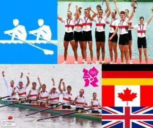Puzle Pódio masculino de Remo coxed oito, Alemanha, Canadá e Reino Unido - Londres 2012-