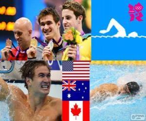 Puzle Pódio natação 100 m livre masculino, Nathan Adrian (Estados Unidos), James Magnussen (Austrália) e Brent Hayden (Canadá) - Londres 2012-