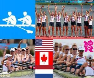 Puzle Pódio Remo 8 com timoneiro feminino, Estados Unidos, Canadá e Países Baixos - Londres 2012 -