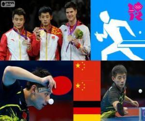 Puzle Pódio Ténis de mesa individual masculino, Zhang Jike, Wang Hao (China) e Dimitrij Ovtcharov (Alemanha) - Londres 2012-