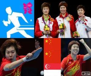 Puzle Pódio Tênis de mesa individual feminino, Li Xiaoxia, Ding Ning (China) e Feng Tianwei (Cingapura) - Londres 2012 -