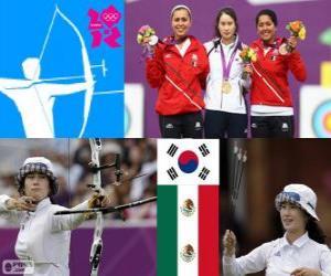 Puzle Pódio tiro com arco individual feminino, Ki Bo-Bae (Coreia do Sul), Aida Román e Mariana Avitia (México) - Londres 2012-