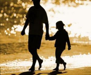 Puzle Padre ou pai caminhava com seu filho