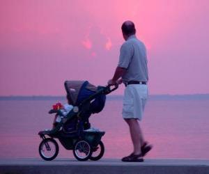 Puzle Pai andando com seu filho junto ao mar