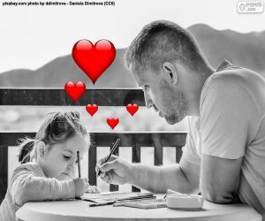 Puzle Pai pintura com sua filha